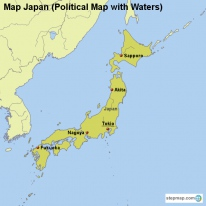 Map Japan (Political Map with Waters)