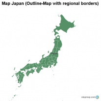 Map Japan (Outline-Map with regional borders)