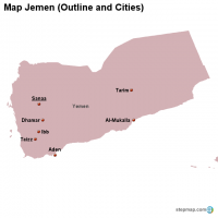 Map Jemen (Outline and Cities)