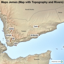 Maps Jemen (Map with Topography and Rivers)