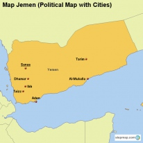Map Jemen (Political Map with Cities)