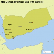 Map Jemen (Political Map with Waters)
