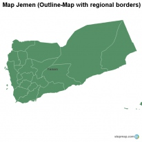 Map Jemen (Outline-Map with regional borders)