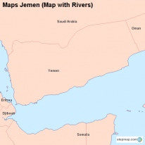 Maps Jemen (Map with Rivers)
