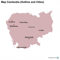 Map Cambodia (Outline and Cities)