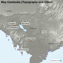 Map Cambodia (Topography and Cities)