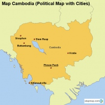 Map Cambodia (Political Map with Cities)