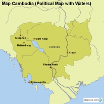 Map Cambodia (Political Map with Waters)