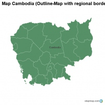 Map Cambodia (Outline-Map with regional borders)