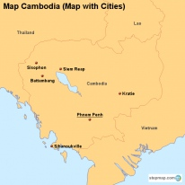Map Cambodia (Map with Cities)
