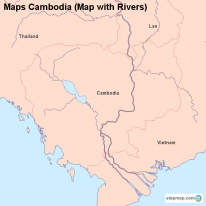 Maps Cambodia (Map with Rivers)