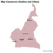 Map Cameroon (Outline and Cities)