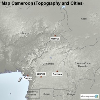 Map Cameroon (Topography and Cities)