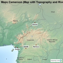 Maps Cameroon (Map with Topography and Rivers)