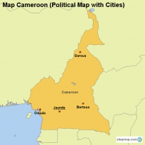 Map Cameroon (Political Map with Cities)