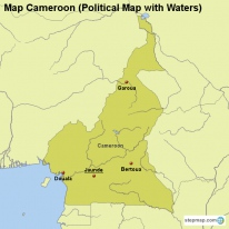 Map Cameroon (Political Map with Waters)