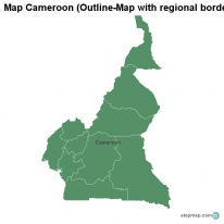 Map Cameroon (Outline-Map with regional borders)