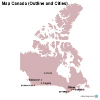 Map Canada (Outline and Cities)