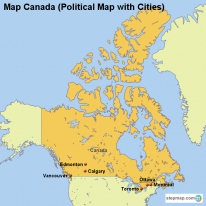 Map Canada (Political Map with Cities)
