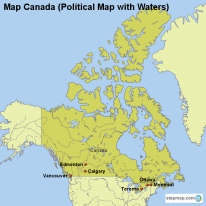 Map Canada (Political Map with Waters)