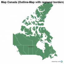 Map Canada (Outline-Map with regional borders)