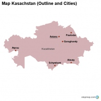 Map Kasachstan (Outline and Cities)