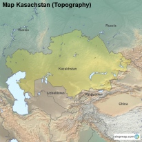 Map Kasachstan (Topography)