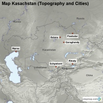 Map Kasachstan (Topography and Cities)