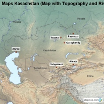 Maps Kasachstan (Map with Topography and Rivers)