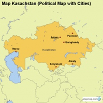 Map Kasachstan (Political Map with Cities)