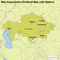 Map Kasachstan (Political Map with Waters)