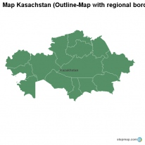 Map Kasachstan (Outline-Map with regional borders)