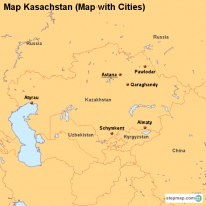 Map Kasachstan (Map with Cities)