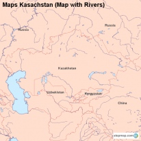 Maps Kasachstan (Map with Rivers)