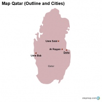 Map Qatar (Outline and Cities)
