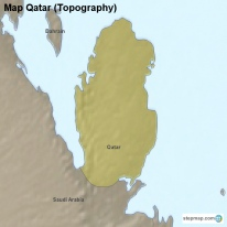Map Qatar (Topography)