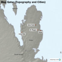 Map Qatar (Topography and Cities)