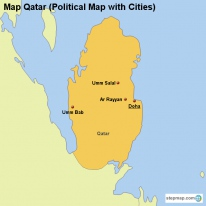 Map Qatar (Political Map with Cities)