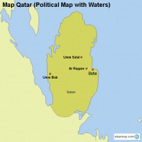 Map Qatar (Political Map with Waters)