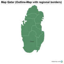 Map Qatar (Outline-Map with regional borders)
