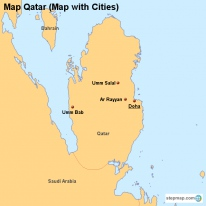 Map Qatar (Map with Cities)