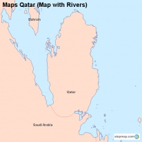 Maps Qatar (Map with Rivers)