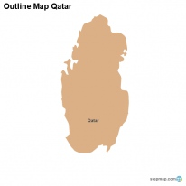 Outline Map Qatar