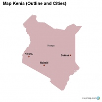 Map Kenia (Outline and Cities)