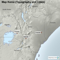 Map Kenia (Topography and Cities)