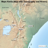 Maps Kenia (Map with Topography and Rivers)