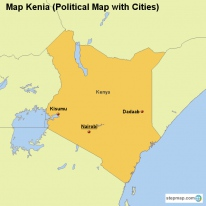 Map Kenia (Political Map with Cities)