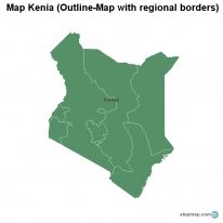 Map Kenia (Outline-Map with regional borders)