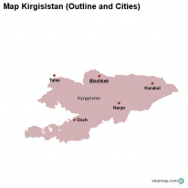 Map Kirgisistan (Outline and Cities)
