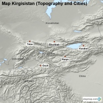Map Kirgisistan (Topography and Cities)